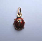 9ct Gold Lightweight Enamelled Ladybird pendant 0.8g